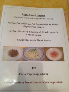 Light Lunch Menu Front Page