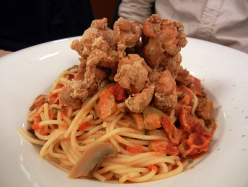 fried chicken spaghetti