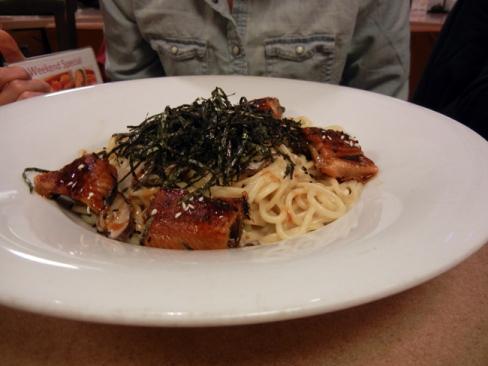 Unagi and mushroom spaghetti